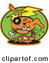Retro Clipart of a Scary Orange Zombie Dog with Stitches and a Black Eye, Itching Fleas off of Himself and Biting a Fishbone on Green by Andy Nortnik