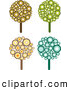 Retro Clipart of a Set of Four Retro Design Styled Trees Made of Brown, Yellow, Orange, Green and Blue Circles by KJ Pargeter