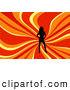Retro Clipart of a Sexy Black Silhouetted Woman Posing over a Wavy Red, Orange and Yellow Background by KJ Pargeter