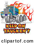 Retro Clipart of a Tough Big Rig Hot Rod Truck Flaming and Smoking Its Rear Tires Doing a Burnout in Flames and a Wheelie on White by Andy Nortnik