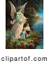 Retro Clipart of a Vintage Painting of a Guardian Angel Looking over Children near a Cliff, Circa 1890 by OldPixels