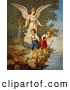 Retro Clipart of a Vintage Painting of a Guardian Angel Protecting Two Children Teetering on a Cliff, Circa 1890 by OldPixels