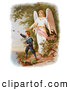 Retro Clipart of a Vintage Painting of a Guardian Angel Watching over a Child Playing near a Cliff, Circa 1890 by OldPixels