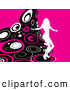 Retro Clipart of a White Silhouetted Woman Party Dancing on a Wave of Retro Pink, Black and White Circles over a Pink Background by KJ Pargeter