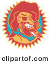 Retro Clipart of a Wild Bill Hickock Smiling and Wearing a Cowboy Hat on White by Andy Nortnik
