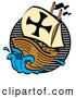 Retro Clipart of a Wood Ship, the Mayflower, Carrying Pilgrims on the Sea by Andy Nortnik