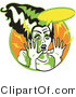 Retro Clipart of an Afraid Bride of Frankenstein Screaming by Andy Nortnik