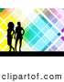 Retro Clipart of Two Black Silhouetted Women Standing over a Retro Colorful Tile Background with White Lines by KJ Pargeter
