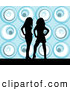 Retro Clipart of Two Sexy Black Silhouetted Women Standing over a Retro Blue Background by KJ Pargeter