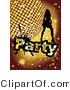 Vector Retro Clipart of a Silhouetted Party Girl and Disco Ball by MilsiArt