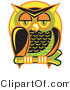Vector Retro Clipart of a Wise and Colorful Sleepy Owl Perched on a Branch at Night Against a Full Moon by Andy Nortnik