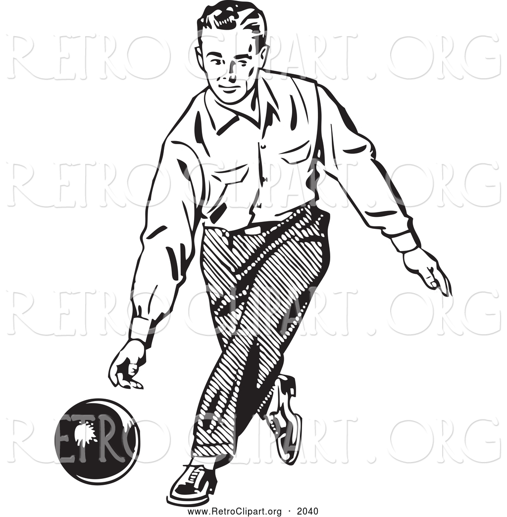 Bowling retro. Clipart of a black