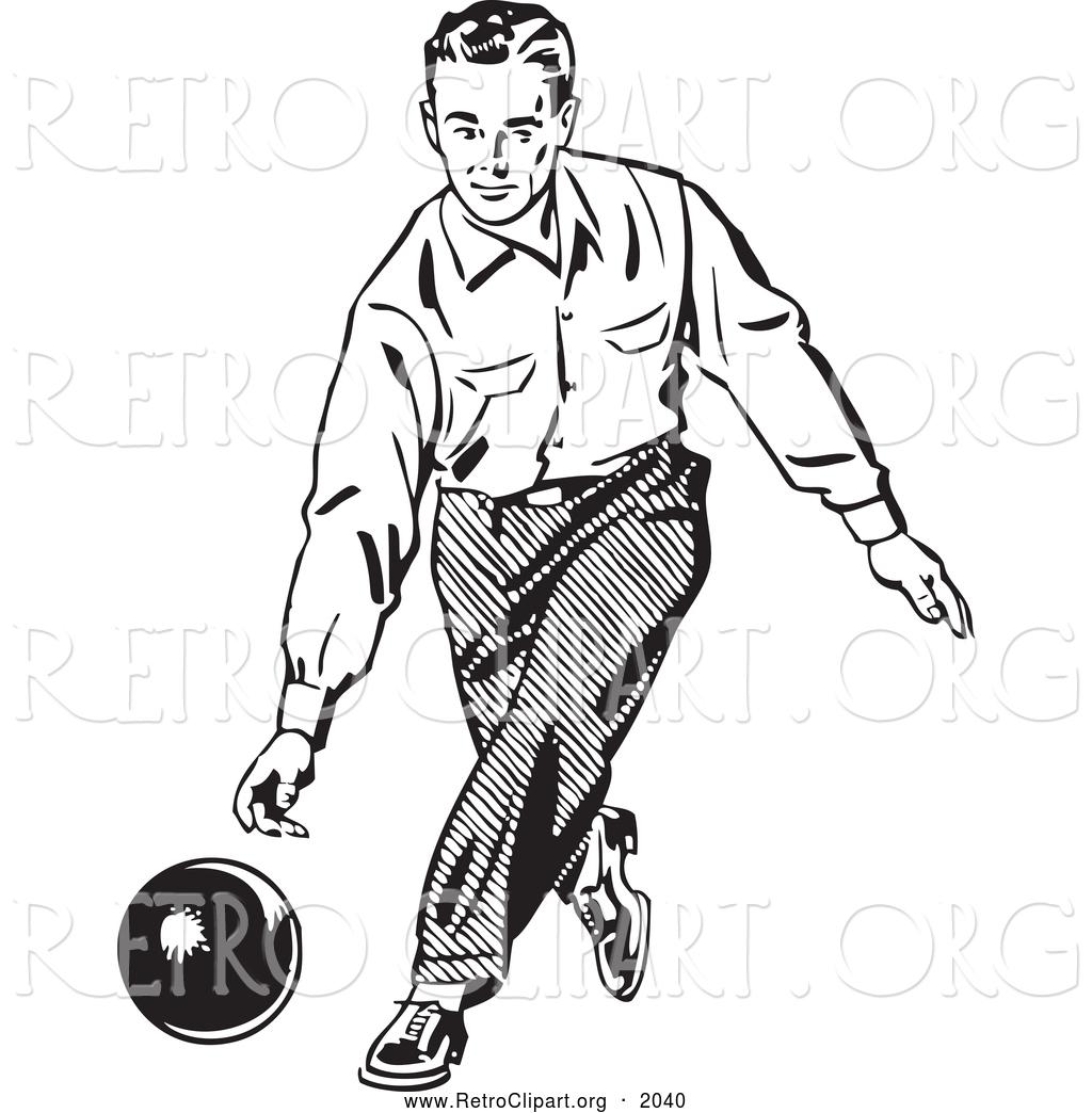 Bowling man. Retro clipart of a