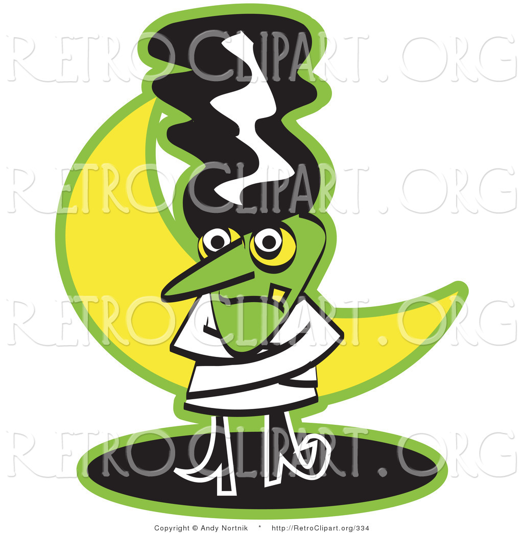 Retro Clipart Of A Bride Of Frankenstein Standing In Front Of A