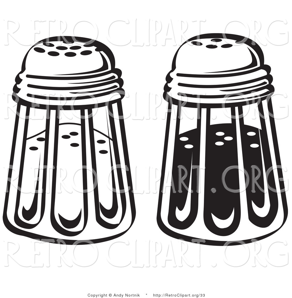 Retro Clipart Of Black And White Salt And Pepper Shakers In A Diner By Andy Nortnik 33