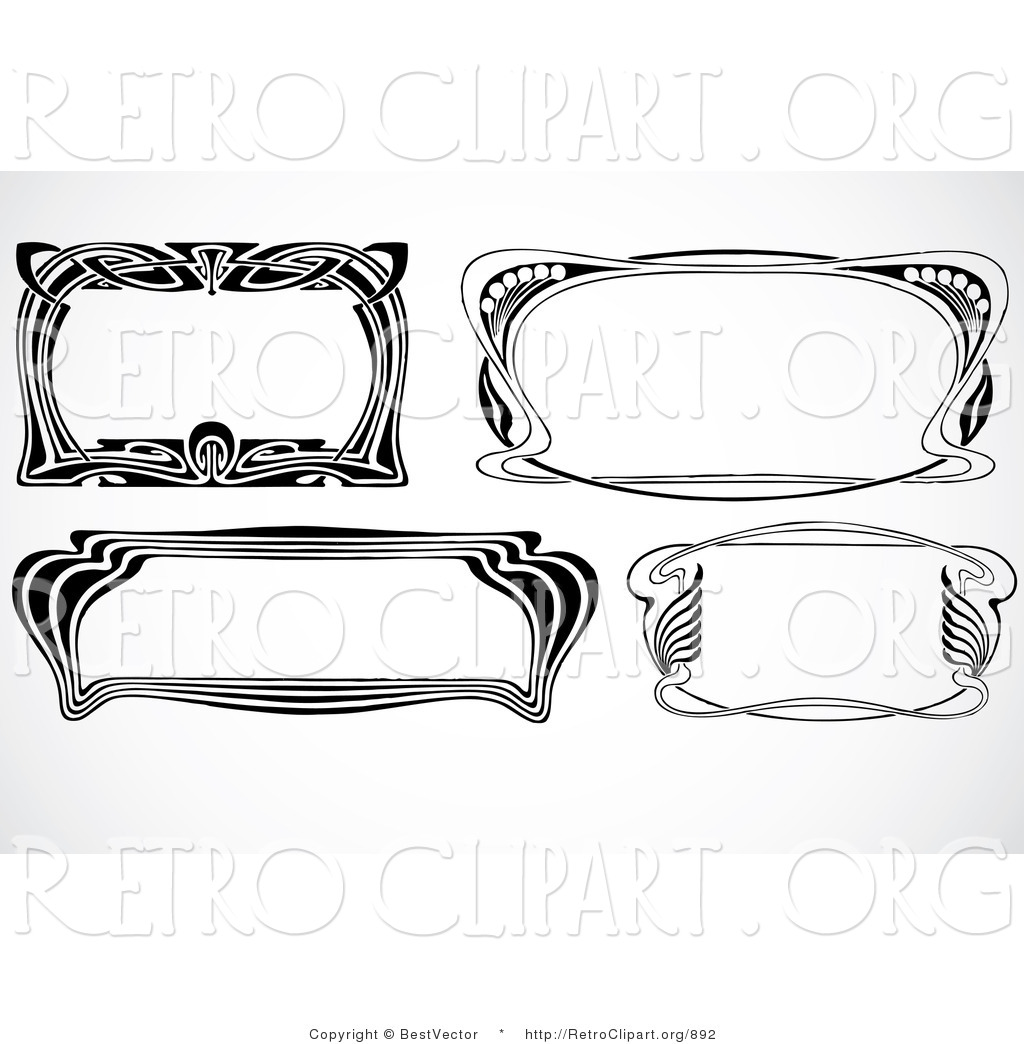 Vector Retro Clipart Of Four Art Deco Text Boxes Or Frames