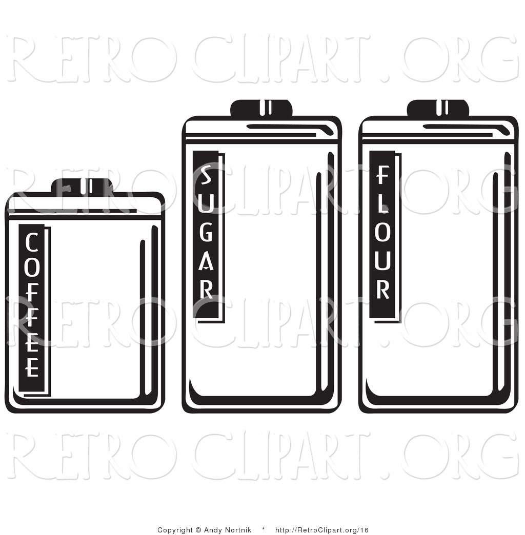 Vector Retro Clipart of Three Storage Canisters in a