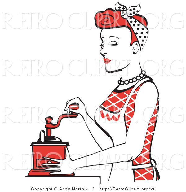 Retro Clipart of an Attractive Red Haired Housewife or ...